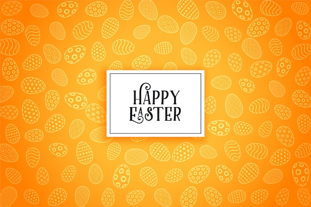 Fondo giallo felice del modello delle uova di pasqua Vettore gratuito