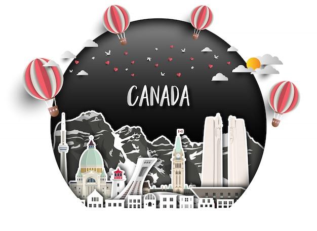 Fondo globale della carta di viaggio e di viaggio del punto di riferimento del canada. Vettore Premium