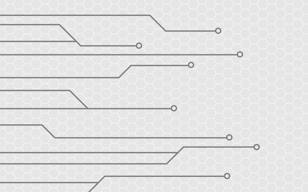 Fondo grigio astratto con struttura del circuito di tecnologia Vettore Premium