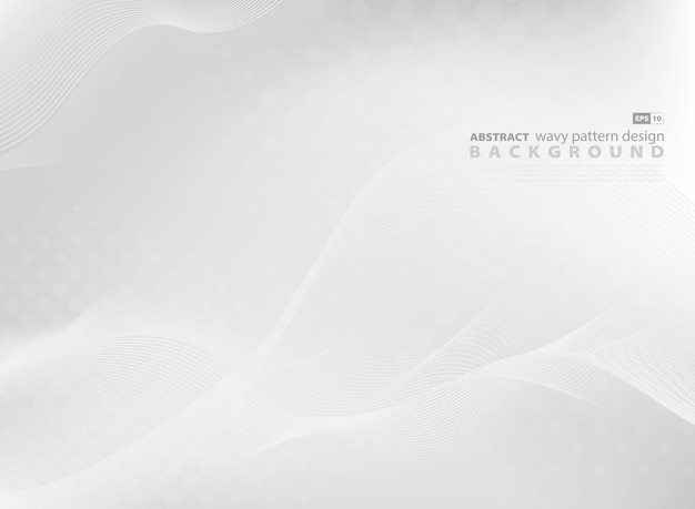 Fondo grigio astratto di progettazione del modello ondulato di tecnologia moderna. Vettore Premium