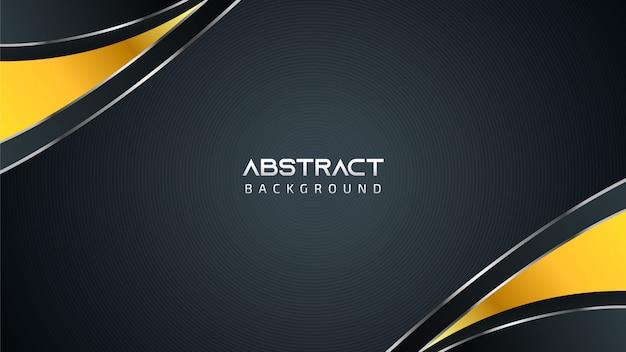 Fondo in bianco e nero astratto di tecnologia con gli elementi dorati e lo spazio della copia per testo Vettore Premium