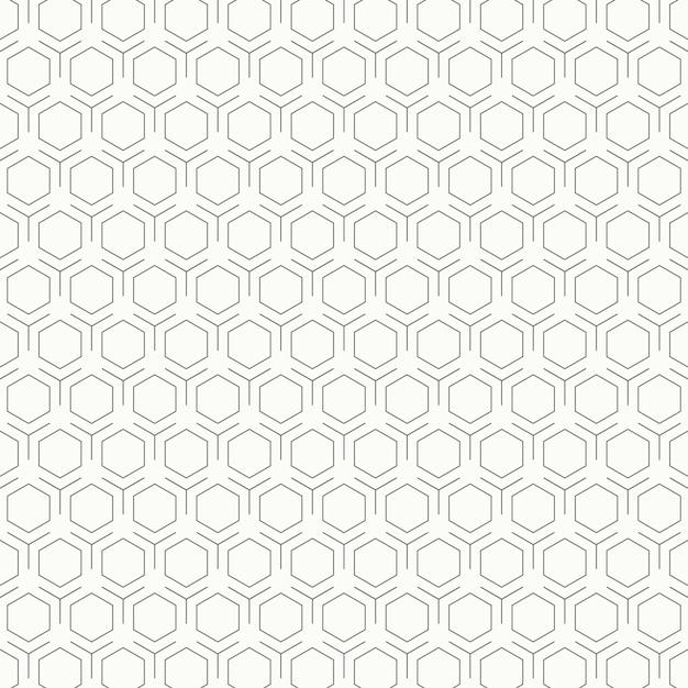 Fondo in bianco e nero d'annata astratto di progettazione del modello di esagono. Vettore Premium