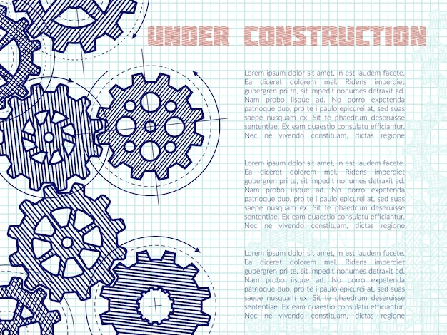 Fondo in costruzione con gli ingranaggi disegnati a mano sulla pagina del taccuino Vettore Premium