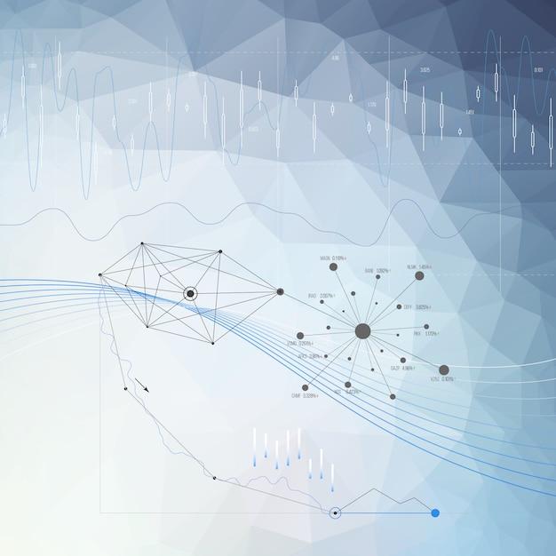 Fondo infographic astratto di colore blu Vettore Premium
