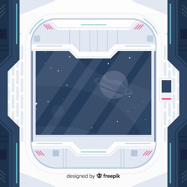 Fondo interno della navicella spaziale moderna con progettazione