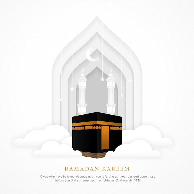 Fondo islamico con la moschea realistica di alharam del ka'bah Vettore Premium