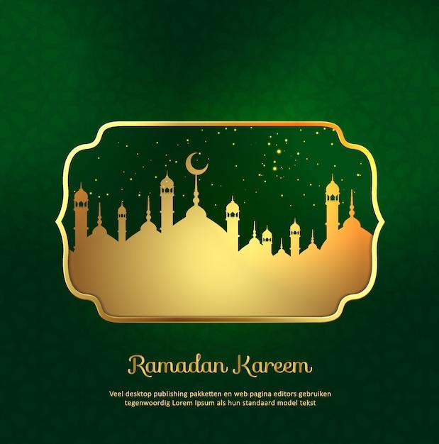 Fondo islamico del kareem del ramadan con la moschea dell'oro Vettore Premium