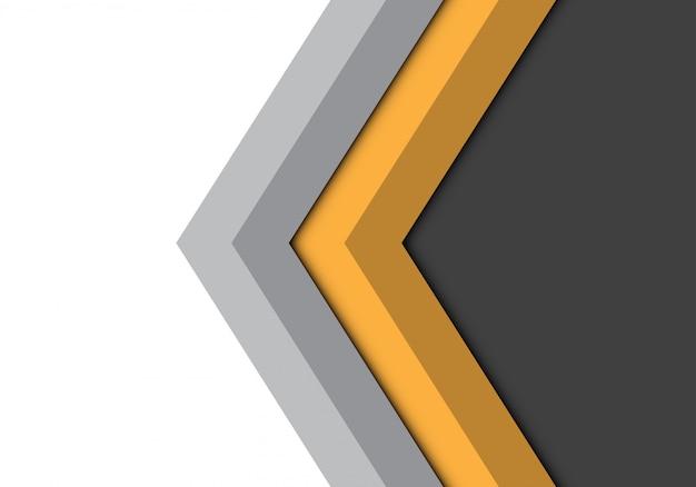Fondo isolato direzione grigia gialla della freccia. Vettore Premium