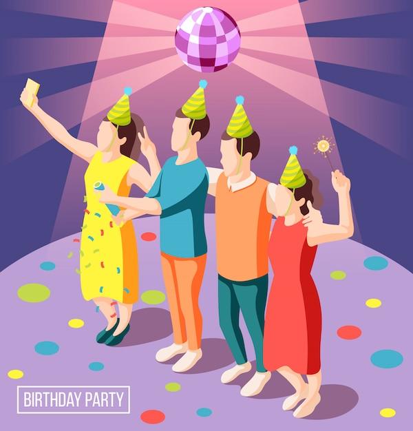 Fondo isometrico della festa di compleanno con la gente felice in cappucci del pagliaccio che tengono l'illustrazione delle stelle filante Vettore gratuito