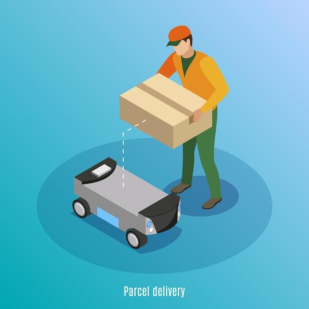 Fondo isometrico di consegna del pacchetto con la scatola di caricamento del lavoratore maschio con le merci nell'illustrazione robot dell'automobile dell'azionamento di auto Vettore gratuito