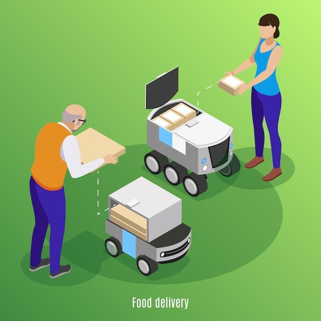 Fondo isometrico di consegna dell'alimento con le scatole di caricamento della gente con pizza e sushi nell'illustrazione robot delle automobili dell'azionamento di auto Vettore gratuito