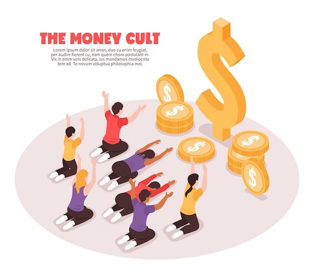 Fondo isometrico di culto dei soldi Vettore gratuito