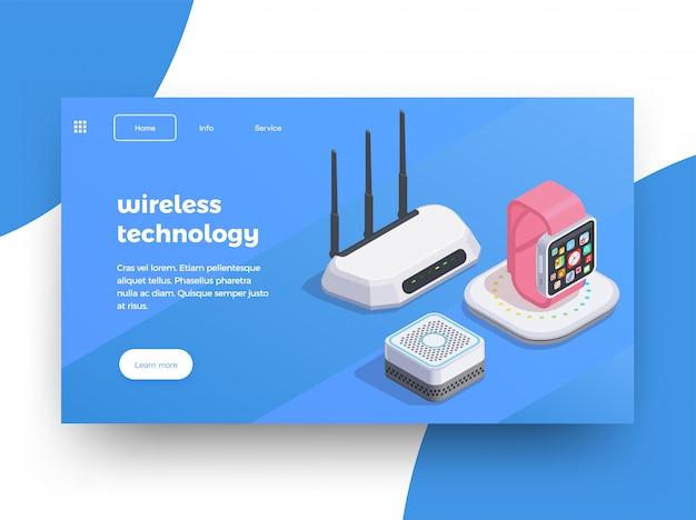 Fondo isometrico di progettazione della pagina del sito web dei dispositivi moderni con le immagini del router astuto di wifi degli orologi con l'illustrazione del testo Vettore gratuito