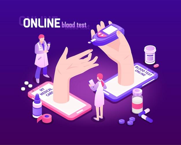 Fondo isometrico di telemedicina con il processo online 3d dell'analisi del sangue Vettore gratuito
