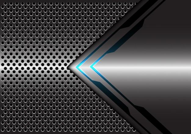 Fondo leggero blu metallico grigio della maglia del cerchio di direzione della freccia. Vettore Premium