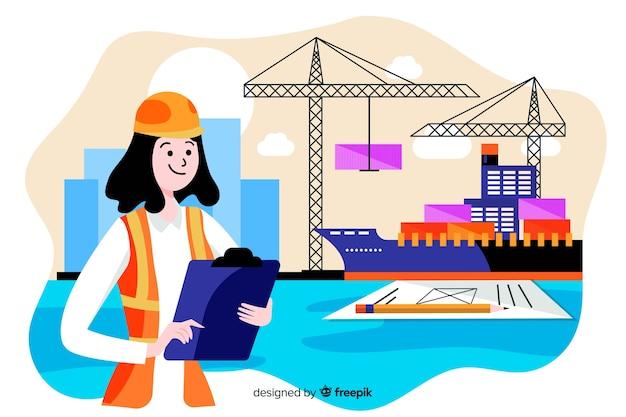Fondo marino piano di concetto di ingegneria Vettore gratuito
