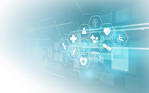 Fondo medico dell'innovazione del modello dell'icona di sanità Vettore Premium