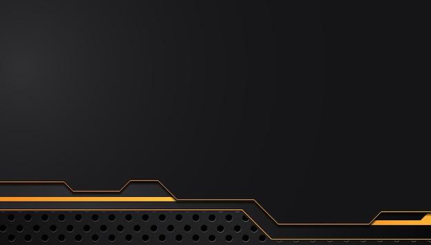 Fondo metallico astratto giallo arancione e nero di concetto dell'innovazione di tecnologia della disposizione della struttura Vettore Premium