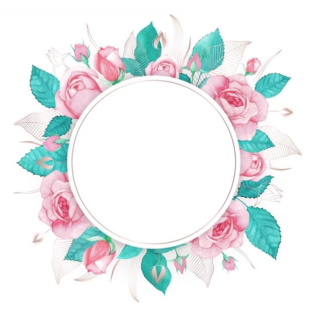 Fondo multiuso della struttura della rosa di rosa dell'acquerello Vettore Premium