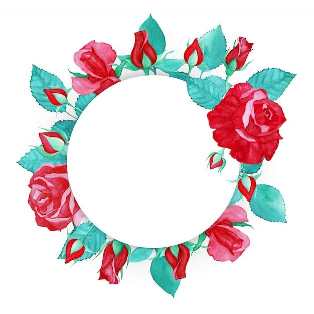 Fondo multiuso della struttura della rosa rossa dell'acquerello Vettore Premium