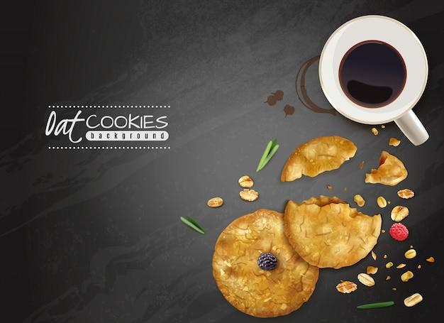 Fondo nero dei biscotti dell'avena con l'illustrazione dei biscotti e delle bacche della tazza di caffè di vista superiore Vettore gratuito