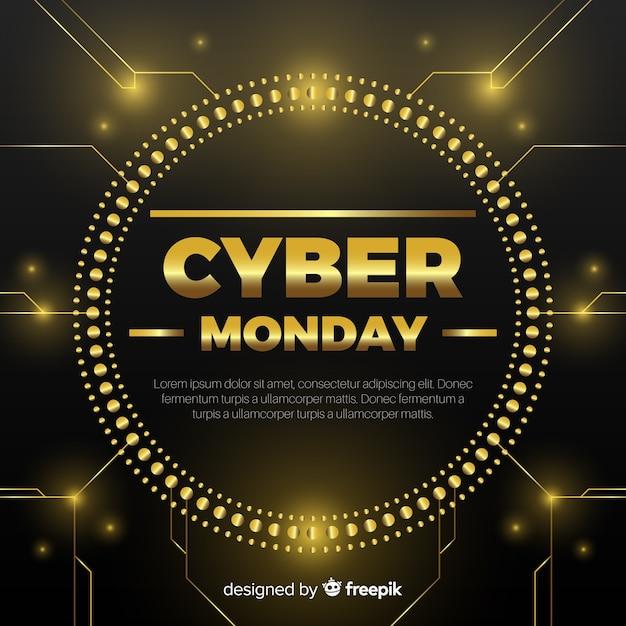 Fondo nero e dorato di vendita di lunedì di cyber Vettore gratuito
