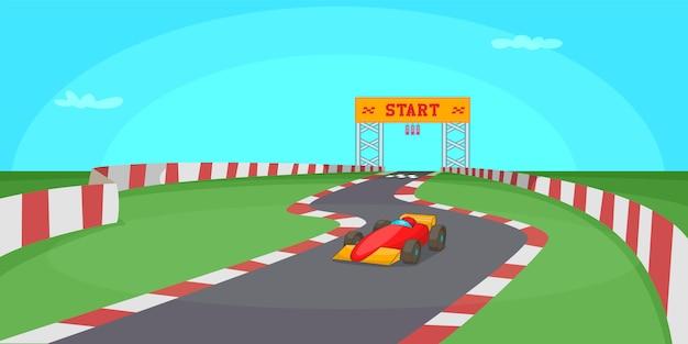 Fondo orizzontale della concorrenza della corsa, stile del fumetto Vettore Premium