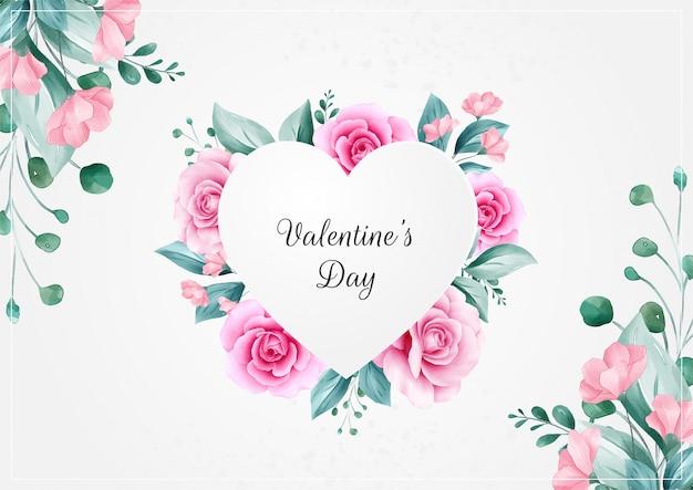 Fondo orizzontale di san valentino dei fiori con la struttura floreale del cuore Vettore Premium