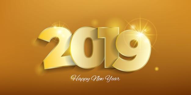 Fondo oro del nuovo anno 2019 Vettore Premium
