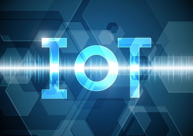 Fondo oscillante del segnale di onda esagonale dell'estratto di tecnologia delle cose di internet Vettore Premium