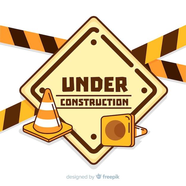 Fondo piano del segno della costruzione di avvertimento Vettore gratuito