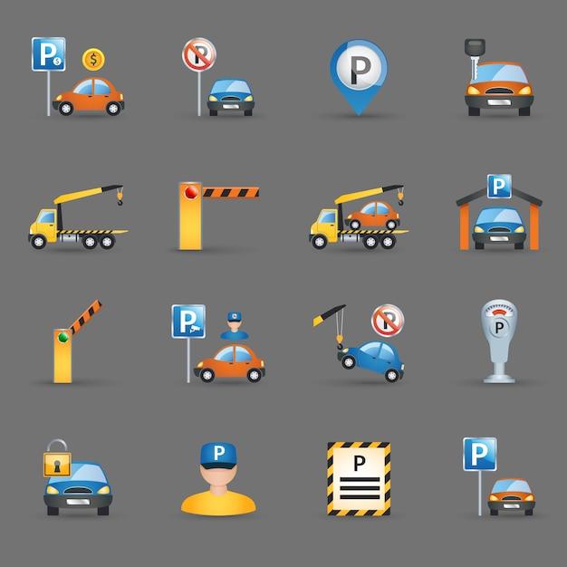 Fondo piano della grafite delle icone dei parcheggi Vettore gratuito