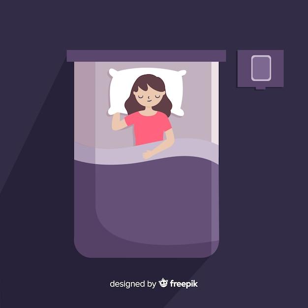 Fondo piano di posa di sonno di vista superiore Vettore gratuito