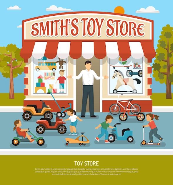 Fondo piatto del negozio del giocattolo Vettore gratuito