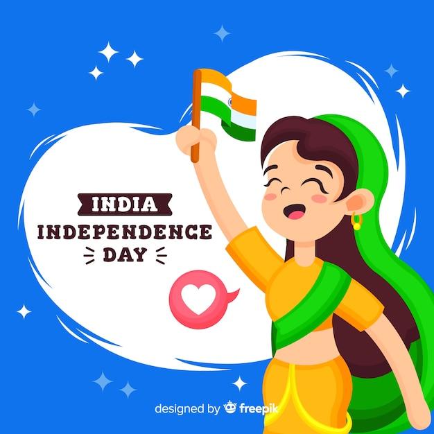 Fondo piatto di festa dell'indipendenza dell'india Vettore gratuito