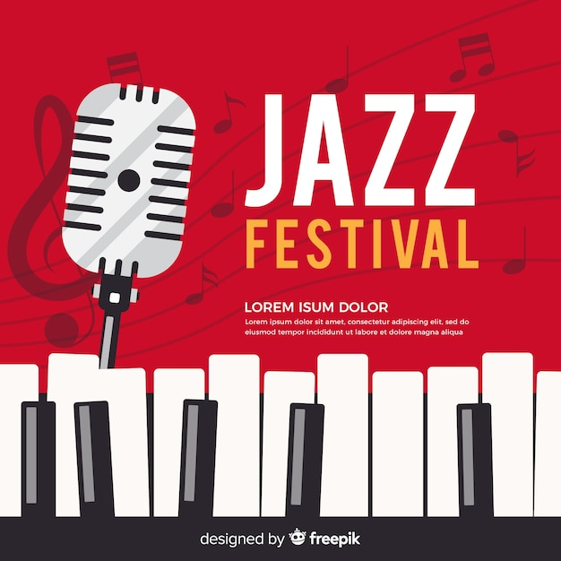 Fondo piatto giorno jazz internazionale Vettore gratuito