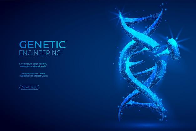 Fondo poligonale dell'estratto di ingegneria genetica del dna. Vettore Premium
