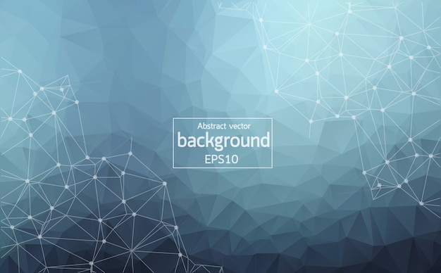 Fondo poligonale geometrico blu scuro astratto Vettore Premium