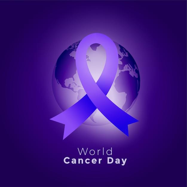 Fondo porpora di giornata mondiale del cancro della terra e del nastro Vettore gratuito