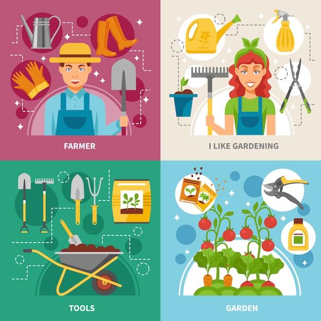 Fondo quadrato delle icone di concetto di giardinaggio Vettore gratuito
