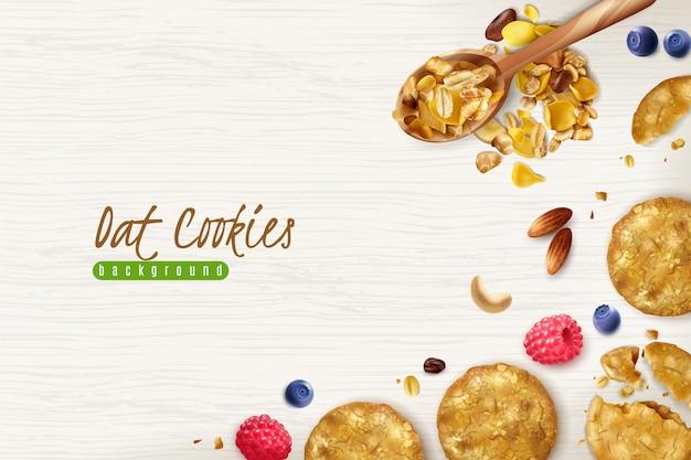 Fondo realistico dei biscotti di farina d'avena con i chicchi di fiocchi di avena sparsi e l'illustrazione fresca delle bacche Vettore gratuito