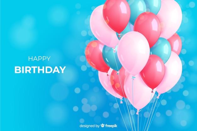 Fondo realistico del pallone della festa di compleanno Vettore gratuito