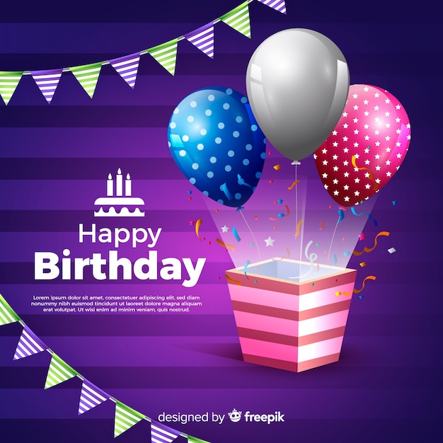 Fondo realistico del partito di buon compleanno Vettore gratuito