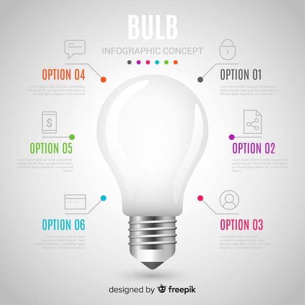 Fondo realistico della lampadina di Infographic Vettore gratuito