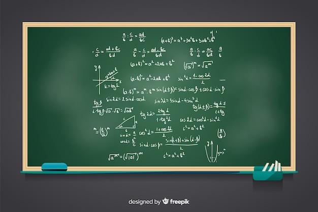 Fondo realistico della lavagna di per la matematica Vettore gratuito