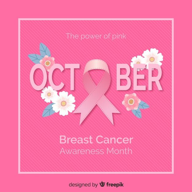 Fondo rosa di mese di consapevolezza del cancro al seno Vettore gratuito