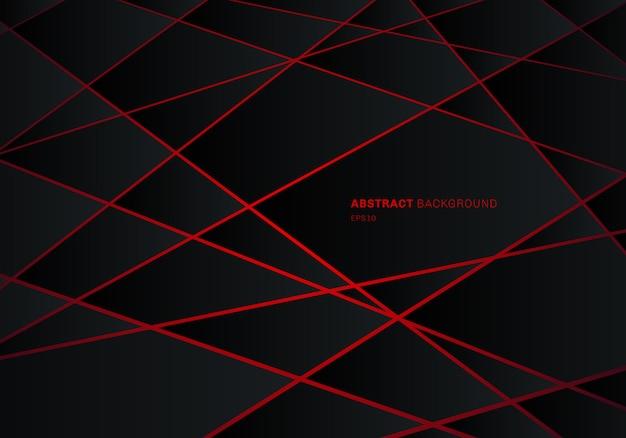 Fondo rosso del laser del poligono geometrico nero astratto. Vettore Premium
