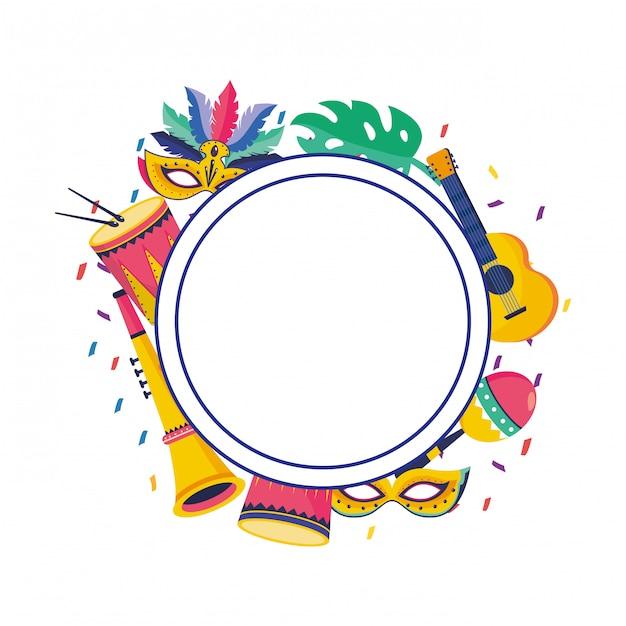 Fondo rotondo della struttura del partito di carnevale del brasile Vettore Premium