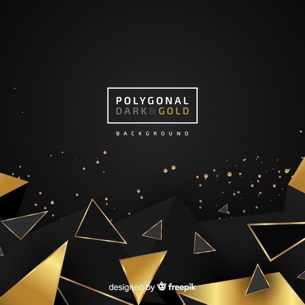 Fondo scuro e dorato poligonale Vettore gratuito