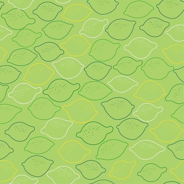 Fondo senza cuciture con i lemmons su verde. Vettore Premium